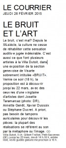 Article du Courrier le 26.02.2015